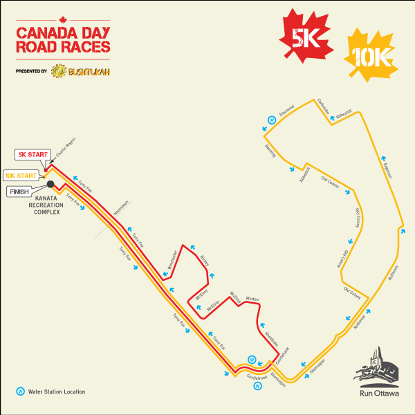 A map showing the route for the 10K and 5K races