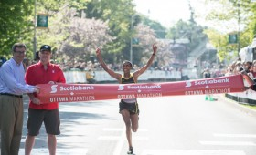 Ethiopian marathoner crossing the finish line