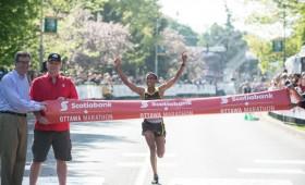 Ethiopian marathoner crossing the finish line