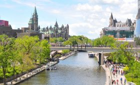 The Rideau Canal runs through the heart of downtown Ottawa