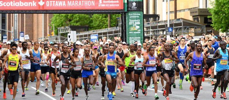 Runners take off at the 2016 Scotiabank Ottawa Marathon start line