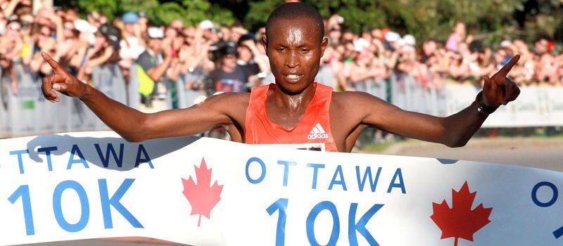 Geoffrey Mutai crosses the finish line in the 2012 Ottawa 10K