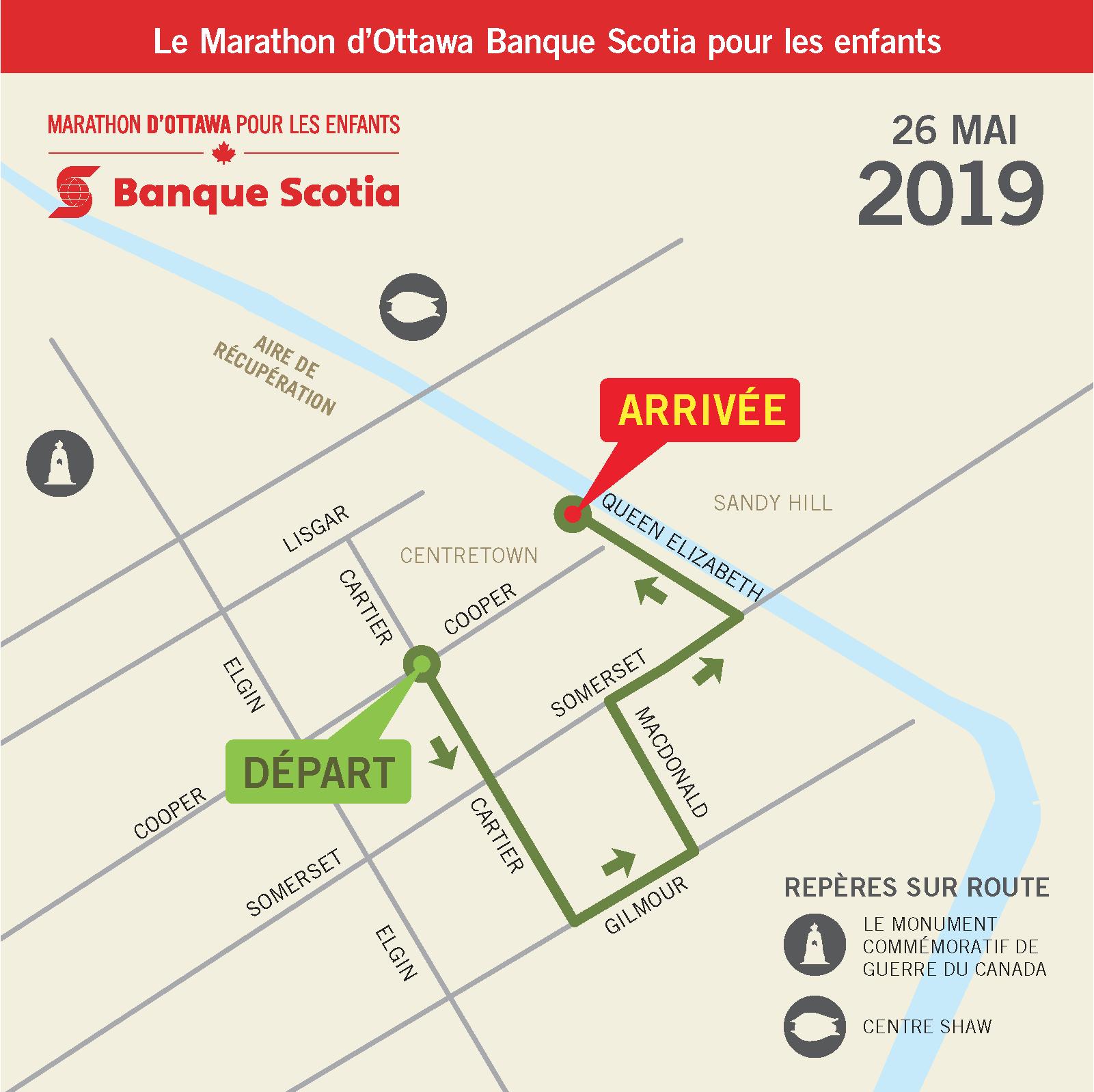 Marathon pour les enfants carte du parcours
