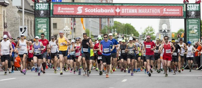 Runners at the start line of the Scotiabank Ottawa Marathon