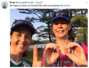 Kristi celebrates running 100K with fellow trail runner Leanne Richardson