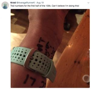 Kristi counts the kilometres on her wrist