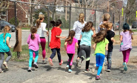 A Kids Run Ottawa run club on a regular run