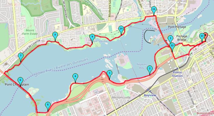 Champlain Bridge Loop Ottawa Running Route