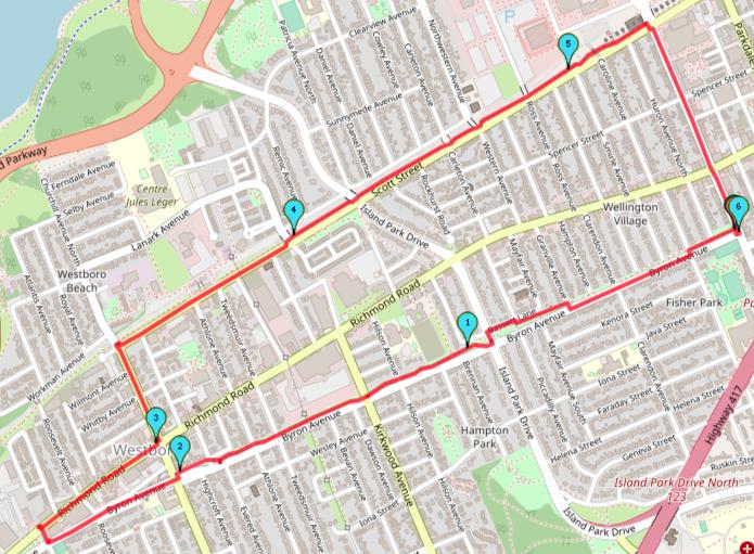 Wellington West Running Route, Ottawa