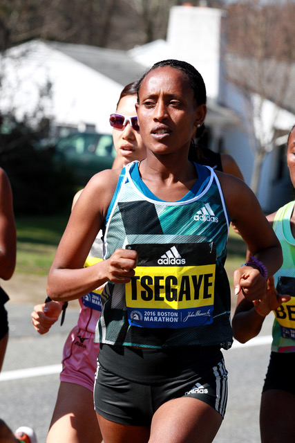 Tirfi Tsegaye running at Boston