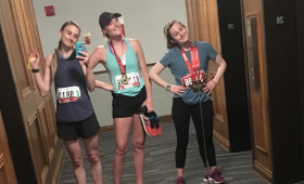 Jackie McIver, Lauren Ryder, and Alex Sullivan show off 2019 Tamarack Ottawa Race Weekend medals