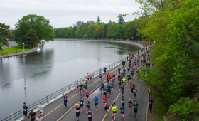 Runners along the Rideau Canal in Ottawa