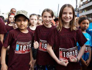Girls run the Scotiabank Ottawa Kids Marathon