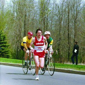 Silvia Ruegger leads at the 1984 Ottawa Marathon
