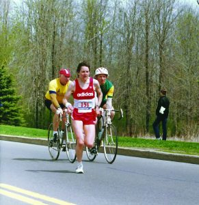 Silvia Ruegger leads at the 1984 Ottawa Marathon